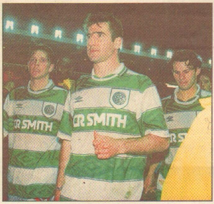 Lee Sharpe, Eric Cantona, Ryan Giggs with Celtic shirt in 1994