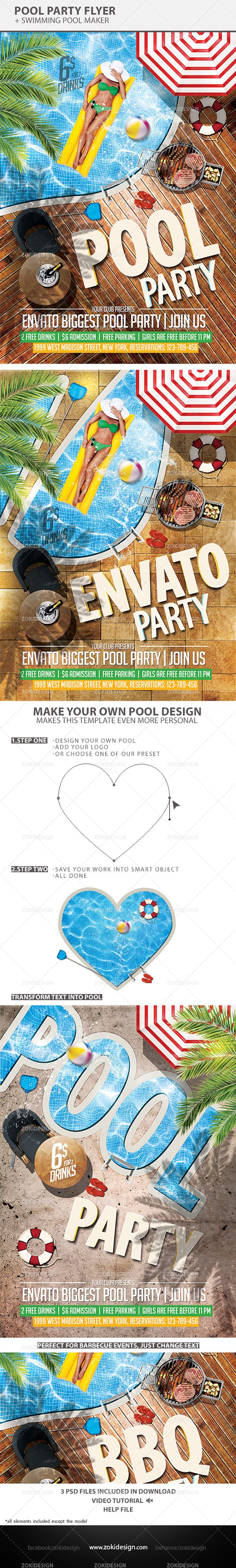 Pool Party Flyer Template by ZokiDesign, via Behance