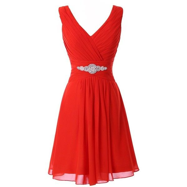 Manfei Women's V-Neck Chiffon Short Bridesmaid Dress Party Dress ($40) ❤ liked…
