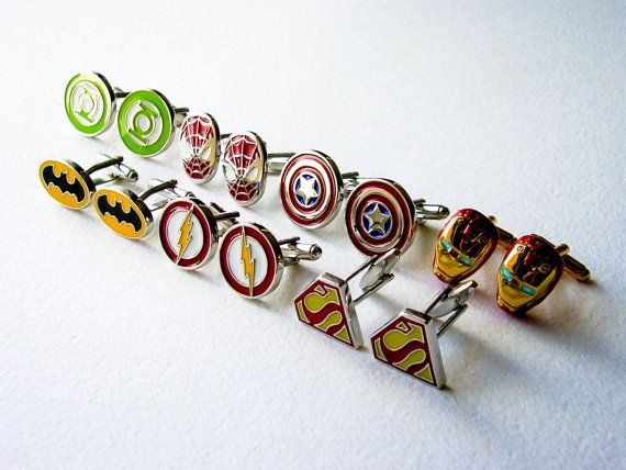 Set of 7 superheroes cufflinks. Stainless steel.  Batman Superman Iron man Captain America The Flash Spiderman Green Lantern  Measure approx 2cm / 1/2inch each