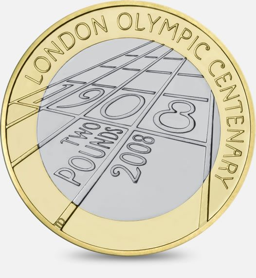 The Centenary of the London Olympic Games of 1908  2008  http://www.royalmint.com/discover/uk-coins/coin-design-and-specifications/two-pound-coin/2008-olympiad-london