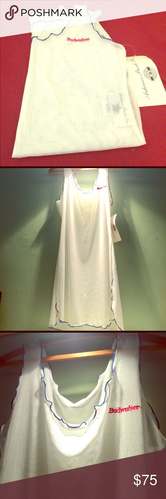 Budweiser Sheer Cover Up Beach Dress or lingerie Brand new with tags. Never used!  Women Sheer Mesh Body See-through beach cover up or lingerie. anheuser-busch INC Swim Coverups