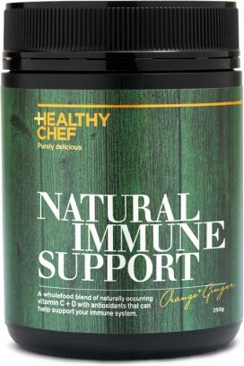 HEALTHY CHEF NATURAL IMMUNE SUPPORT Naturally occurring vitamin C from orange, Camu camu, berries and Acerola – to protect against oxidative damage and promote adrenal and brain function. Plant based source of bioavailable vitamin D – to support immune function and bone health. Anti-inflammatory ingredients, including ginger, turmeric, Rosehip and Terminalia, to help protect against cellular damage, disease and improve digestive health. Healing herbs Echinacea, Andrographis and Astragalus to…