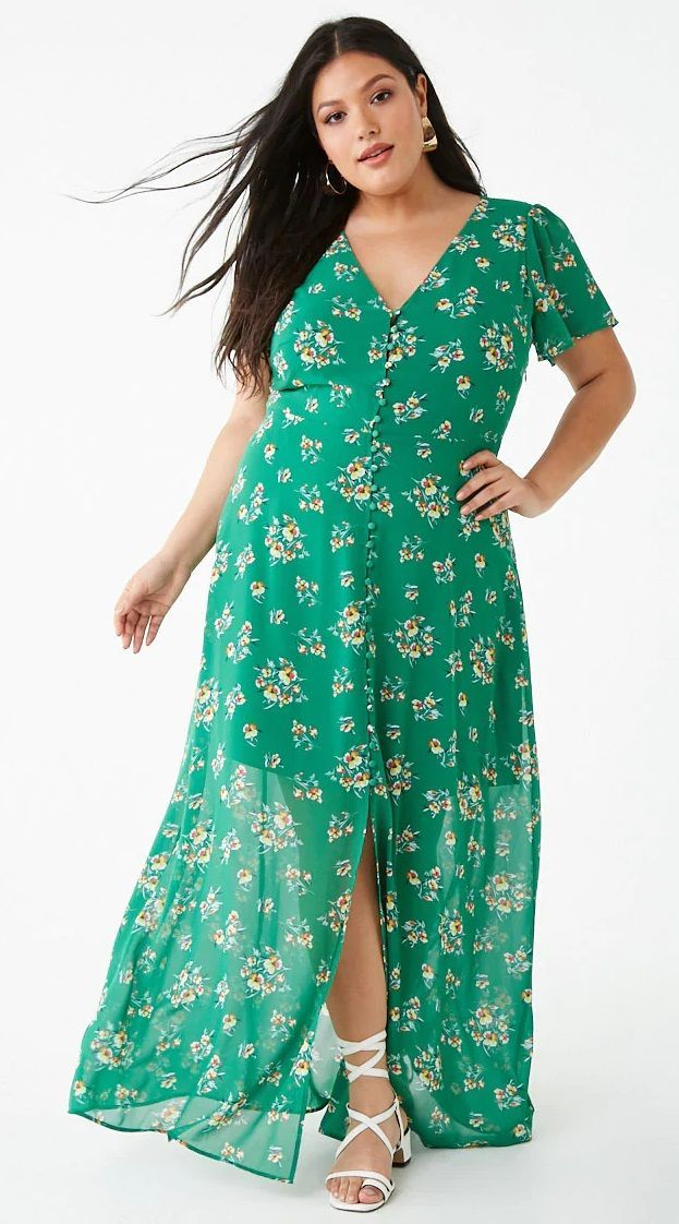 Plus Size Button-Down Floral Dress | Dresses in 2019 ...