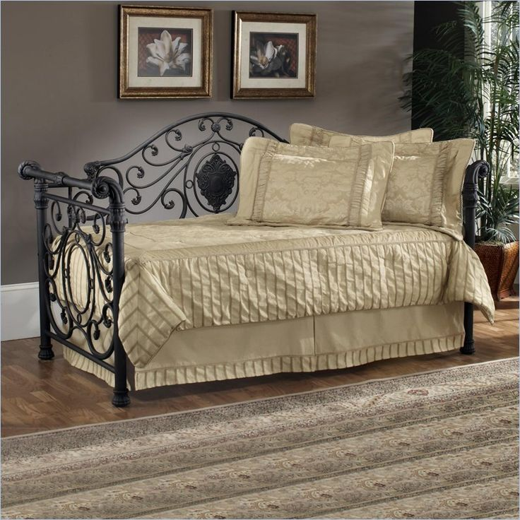 hillsdale mercer metal daybed in antique brown finish with popup trundle