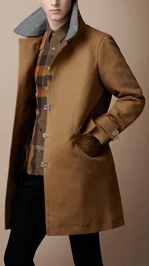 Burberry - BONDED CANVAS CONTRAST COLLAR COAT: But, Burberry Coat, Canvas Contrast, Fashion, Bonded Canvas, Contrast Collar, Coats, Canvases