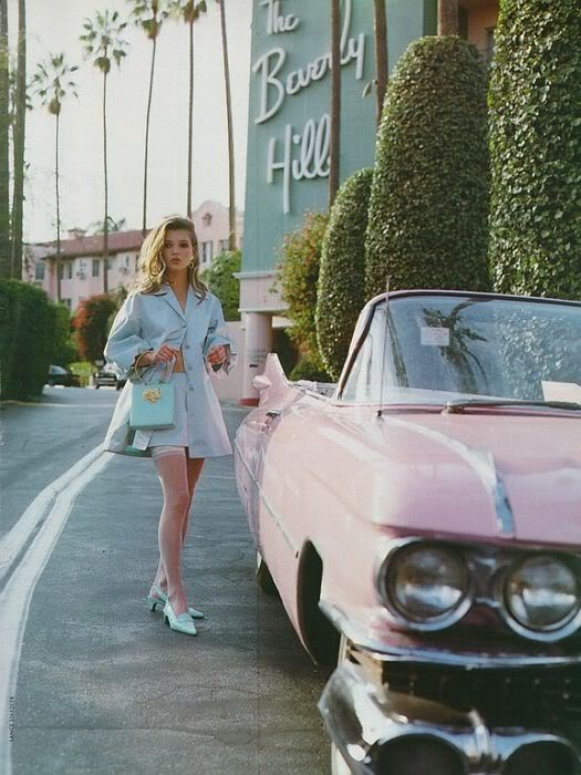 Kate Moss, a pink vintage ride, and the Beverly Hills hotel.