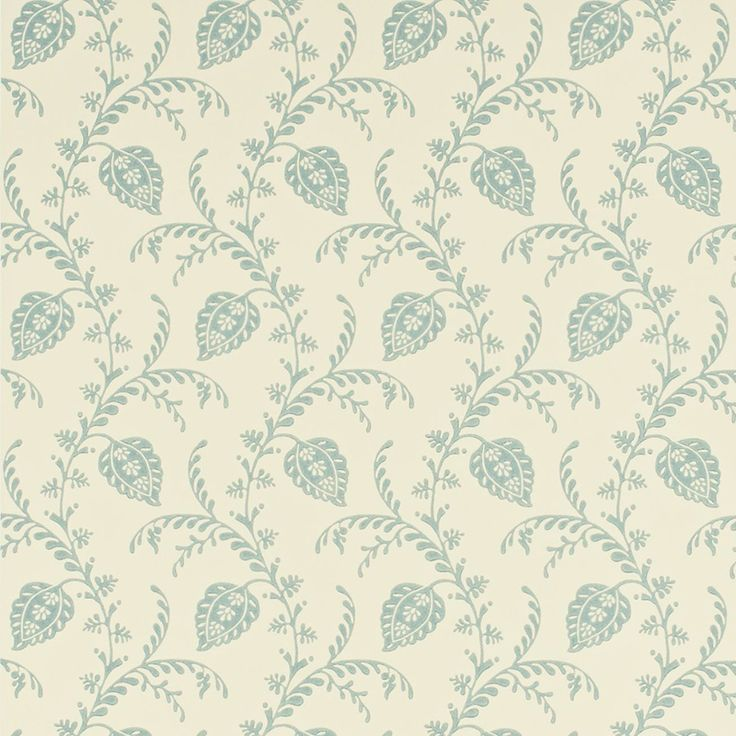Sanderson Pelham DPEMPH105 (Cream/Duckegg) wallpaper from Pemberley collection, priced per roll. A delicate stlyised leaf trail inspired from an archive print, this delicate design works beautifully as a complementary wallpaper