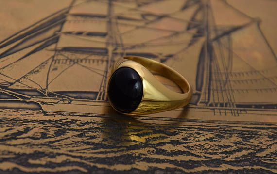 Black Onyx Ring, OVAL Onyx, Cushion Signet Ring, Mens Onyx Ring, Gold Signet Ring, Mens Gold Ring, Onyx Gold Ring, Black Gemstone Ring