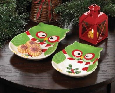 """by Christmas Collection Cookies for Santa or snacks for your holiday guests will be more delicious when you serve them on this charming owl platter! This green owl has a candy cane striped scarf and is holding a sprig of holly in his beak. California Prop 65 6.25"""" x 8"""" x 1.25""""  allgooddecor.com  #allgooddecor #decor #candles #accents #figurines #furniture #gifts #decorations #lighting #mirrors #fountains #outdoor #toys"""