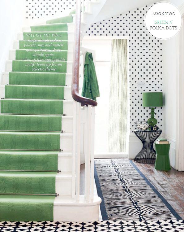 Emerald green & polka dots via Pick a Scheme: Two Colours / Two Rooms – Bright.Bazaar