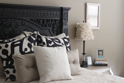 "love the headboard, but check out the tutorial for the cute lampshade...(and see how ""ick"" the lampshades looked before)."