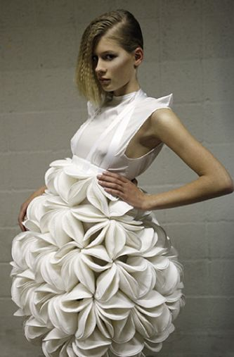 Sculptural Flower dress - three dimensional fashion design