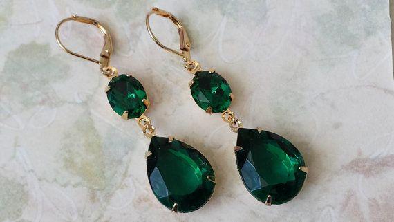 Emerald Teardrop Earrings  Bridesmaid Jewelry by ArtistInJewelry