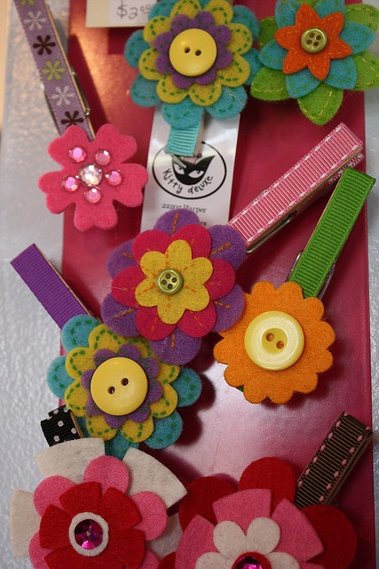 decorated clothepins ribbon and felt Kodamakitty, via Flickr
