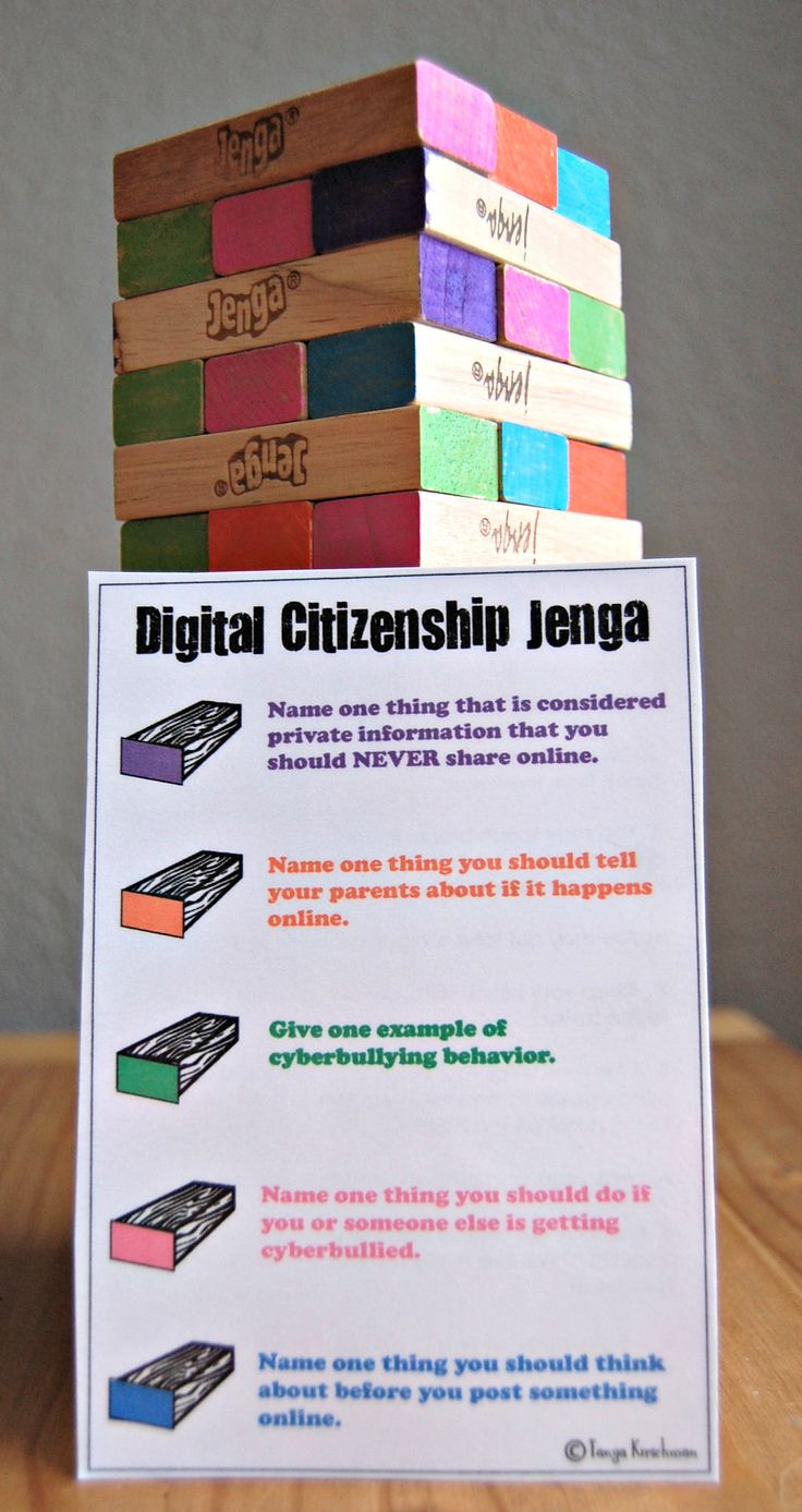 Digital Citizenship Jenga for classroom lessons. How to: buy Jenga games at yard sales/thrift stores (around $1 each). Use Sharpie oil-based paint pens to color the ends. Teach digital citizenship lesson and follow-up with a Jenga review game! (I created a worksheet to go along with this for students to record their answers and take home to discuss with parents.) Tanya Kirschman