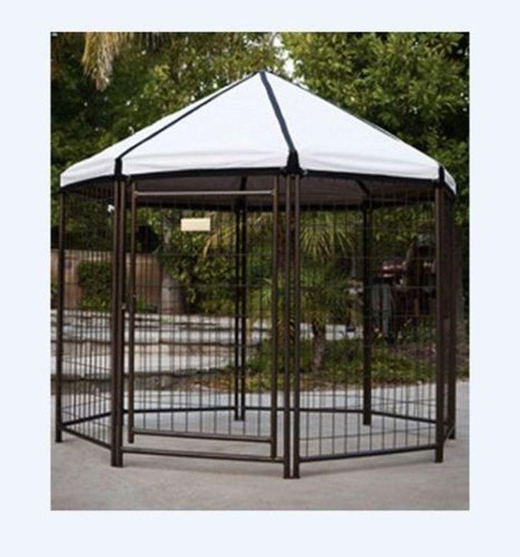 Dog Puppy Pet Kennel Portable Metal Gazebo Covered Top Fenced Outdoor Shelter #Advantek