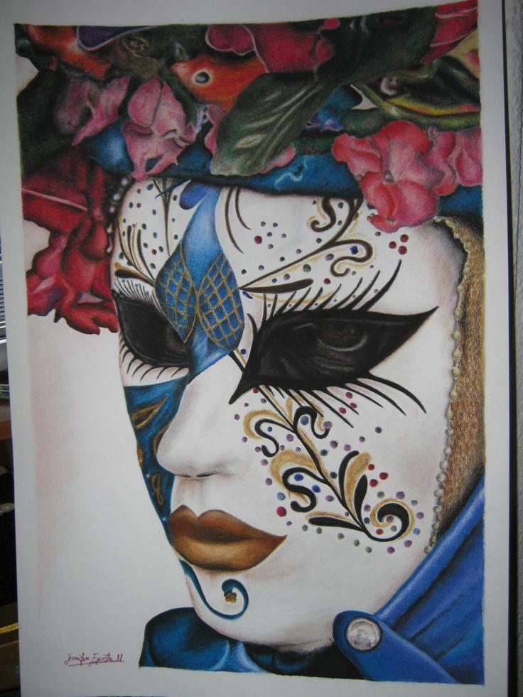 """""""Ritratto di maschera"""". Disegno realizzato con matite colorate gessose. Dimensioni: cm 35 x 50 cm. By Jennifer Egista.  #pastels #Cretacolor #CretacolorFineArtPastels  #Venice #VeniceItaly #VeniceCarnival #Art #Drawing"""
