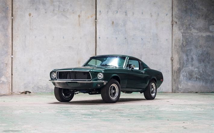 Download wallpapers Ford Mustang, 4k, 1968 cars, muscle cars, retro cars, Mustang, Ford