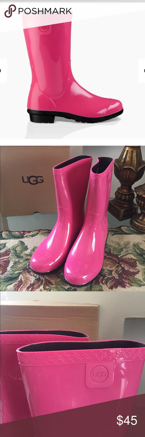 """NEW UGG RAANA. DIVA PINK. Big kids 4--women 6 These waterproof PVC boots are perfect for hopping in puddles or wading through tide pools. PVC EVA and sheepskin insole Waterproof construction 8.25"""" shaft height UGG Shoes Winter & Rain Boots"""