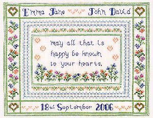 Imaginating Wedding Blessing - Cross Stitch Pattern. May all that is happy be known to your hearts. Model stitched on 28 Ct. White Lugana with DMC floss. Stitch