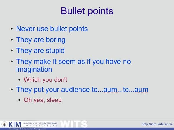 No bullet points by Derek Keats, via Flickr