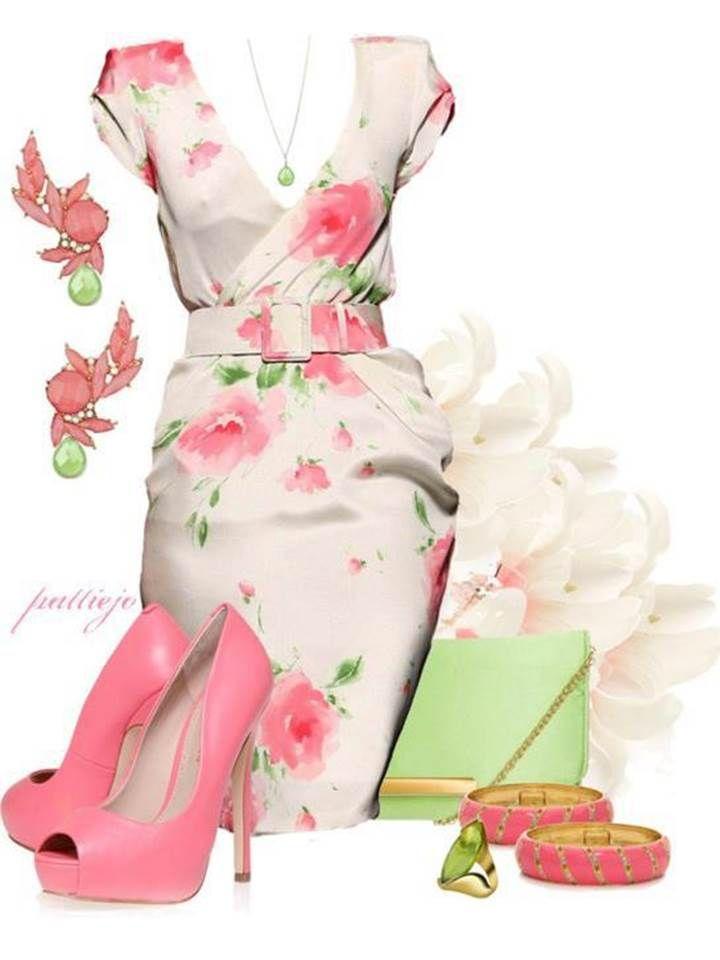 TESTED: CARMEL D&B BAG - Cream Pleated Dress, Baby Pink Cardigan, Gold Flat Metal Belt, Pearl, Mint & Gold Long Necklace, Mint Green 5'' Heels, Gold Watch, Pearl Bracelets, Pearl Knob Earrings & Gold & Pearl Ring.