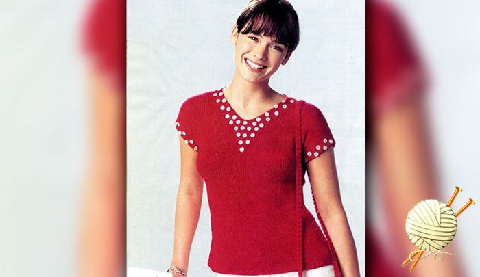 Летний пуловер с пуговицами