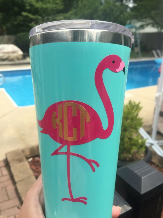 Flamingo monogram decal  Flamingo lover by NashSignsAndGraphix