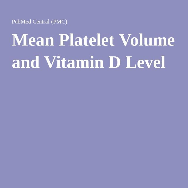 Mean Platelet Volume and Vitamin D Level