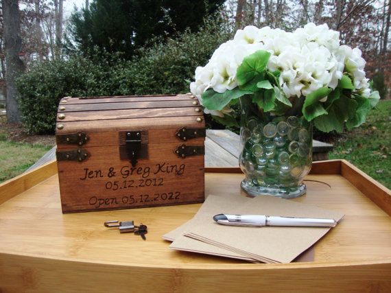 """LOVE! LOVE! LOVE this wedding 'time capsule"""" idea for a guest book!  Hoping to order one in time."""