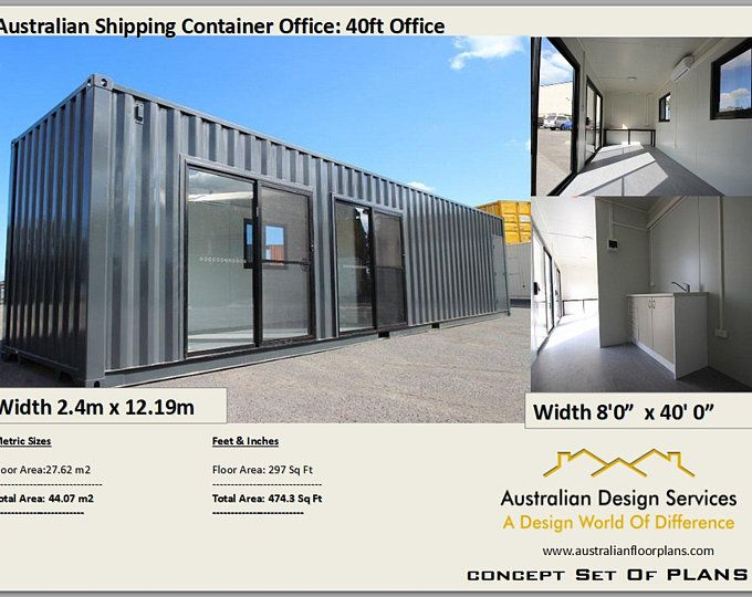 40 Foot Shipping Container Home Full Construction House Etsy Shipping Container Office Container House Shipping Container Homes