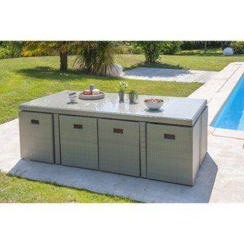 salon de jardin encastrable rsine tresse gris 1 table 8 fauteuils leroy merlin - Salon De Jardin Mtal Color