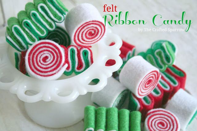 Felt Ribbon Candy, perfect for Christmas decor or stringing on a garland for the tree - thecraftedsparrow.com