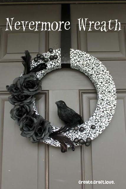Beautiful - The Raven! Halloween Wreath via createcraftlove.com #halloween #wreath