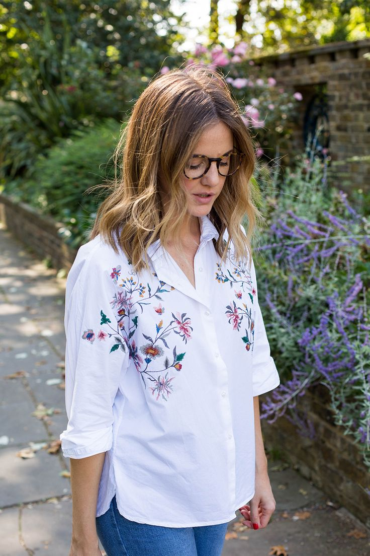 Starting my embroidery collection with this transitional white Zara shirt.