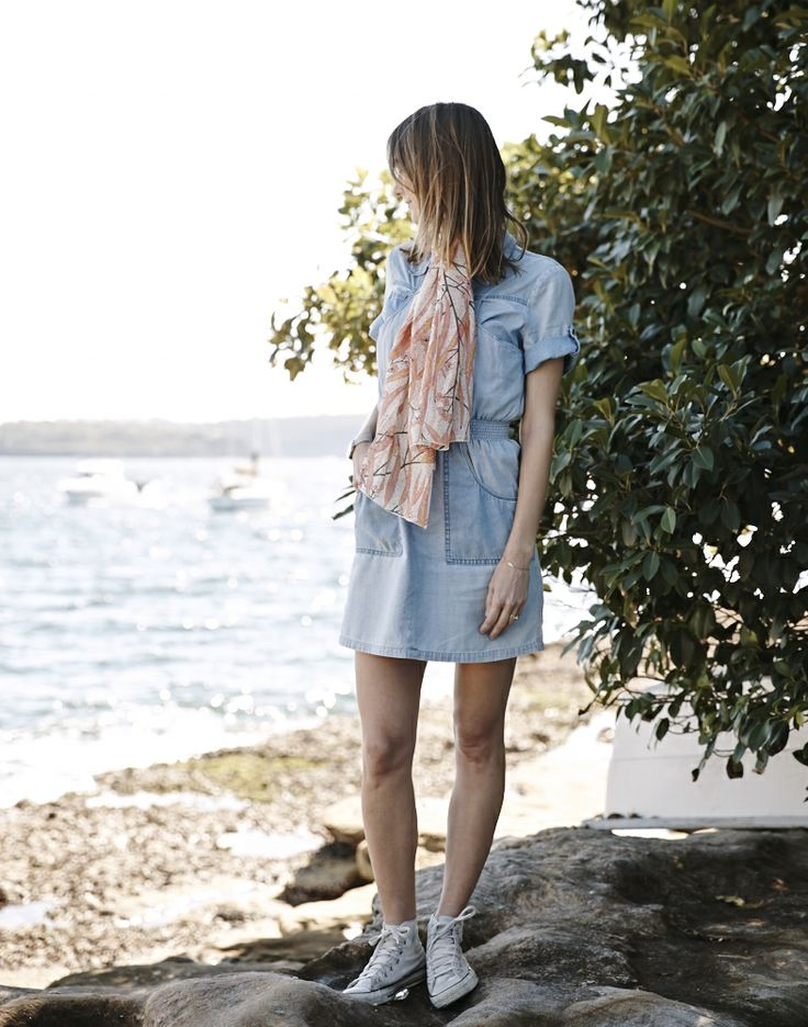 Utopia Goods down by Sydney Harbour. Silk cotton scarf, eucalyptus print.