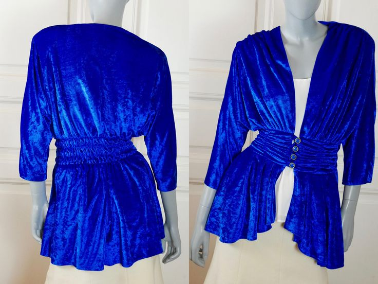 Crushed Velvet Tunic Top, Royal Blue Goddess Folds 1980s Elegant Party Top, French Vintage Sexy Blue Renaissance Style Top: 6/8 US, 10/12 UK by YouLookAmazing on Etsy