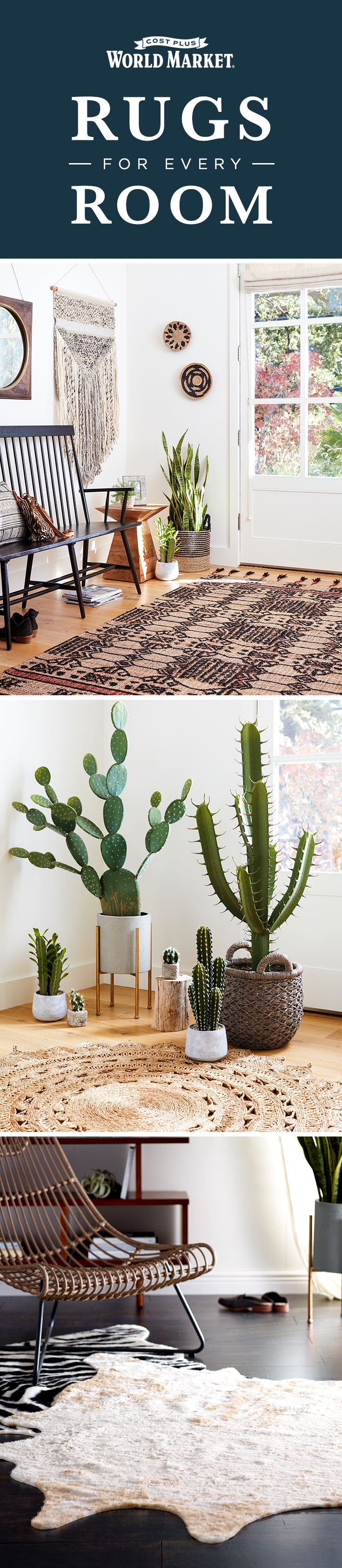 Natural materials, eye-catching designs, unique textures––whatever you're looking for in a rug, we've got a style to match your taste on sale right now during the Rug Caravan at Cost Plus World Market!