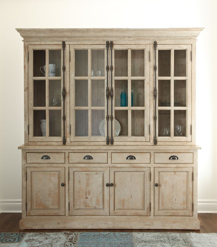 Features:  -Windsor collection.  -Adjustable interior shelves.  -White wash finish.  Product Type: -China cabinet.  Style: -Contemporary.  Finish: -White wash.  Distressed: -Yes.  Hardware Material: -