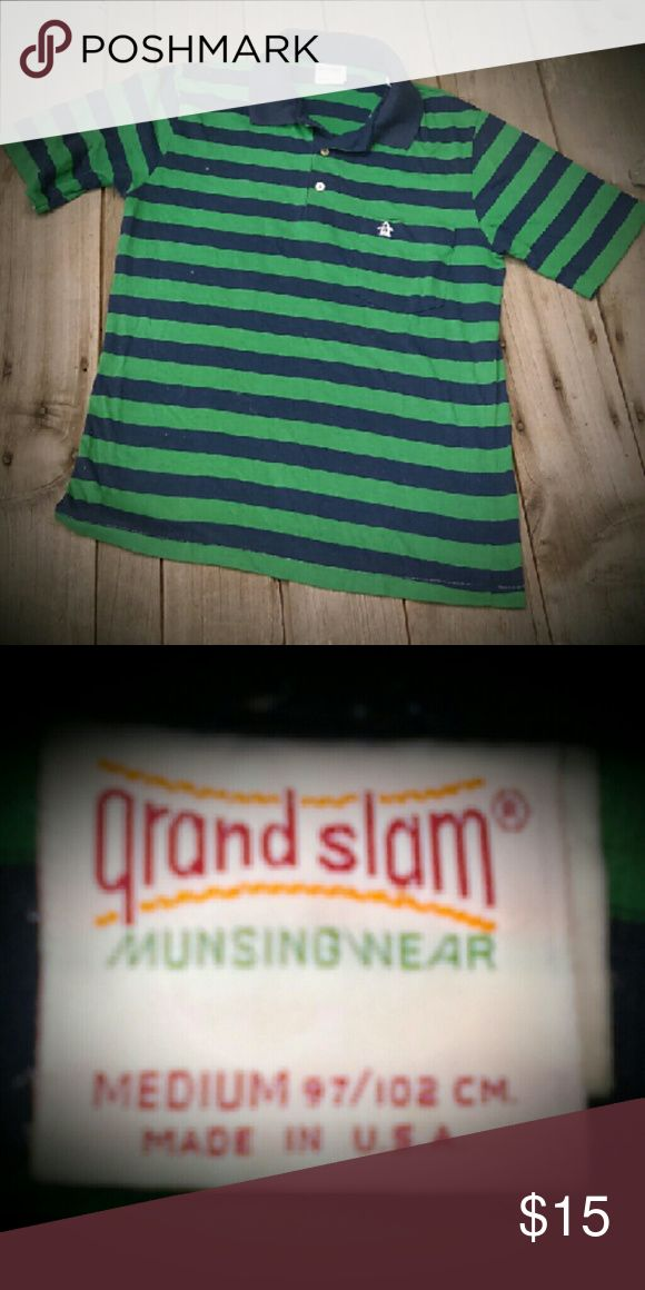 Vintage Polo Green and navy polo shirt from the 70's! Great shape! 50% Cotton and 50% Polyester. Made in the USA! Grand Slam Munsing Wear Shirts Polos