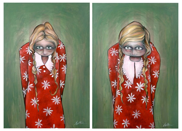 The sisters, both 150 x 100 cm, oil/acrylic on canvas, 2012. By Lotte Teussink - available (contact through www.lotteteussink.nl)