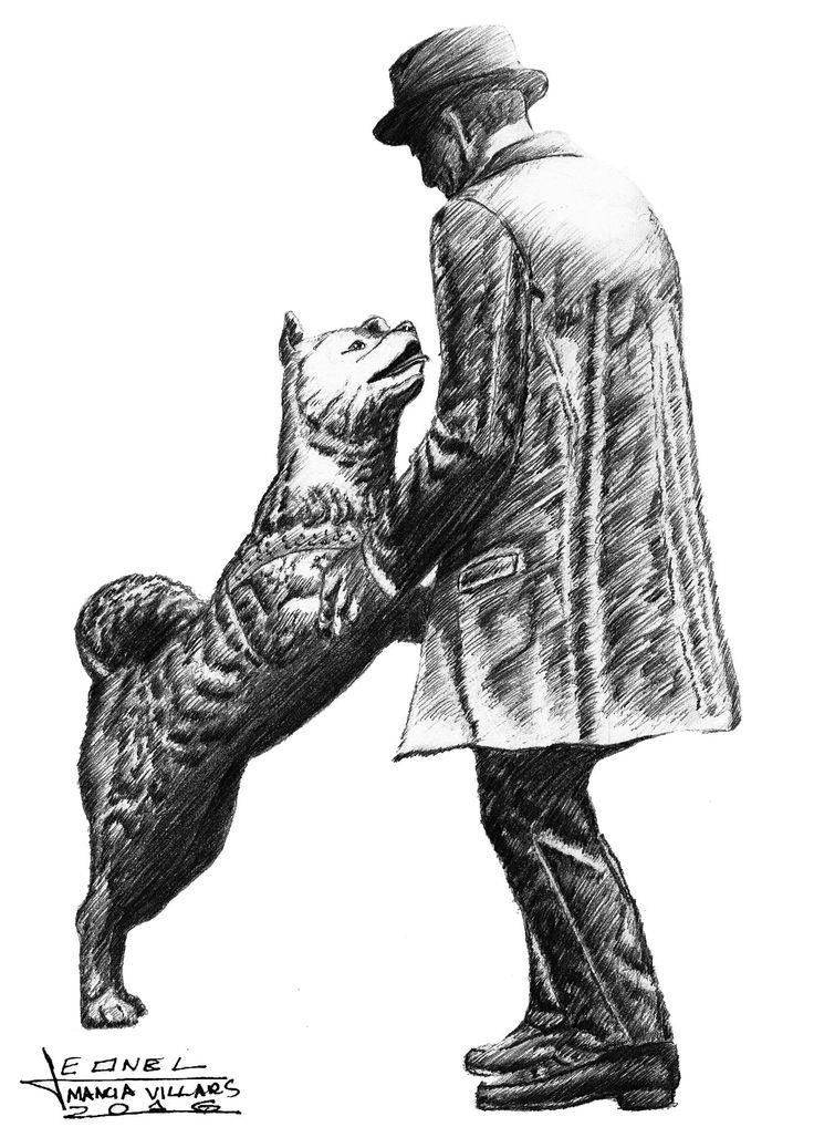 """Dibujo hecho para Proyecto Inspira sobre el tema de """"Fidelidad"""", inspirado por una de las historias capaz de conmover a casi todos, mostrando un sentimiento tan puro de esperanza y fidelidad que un animal puede expresar y me hace pensar hasta qué punto puede comprender lo que hace y si nuestra conciencia """"humana"""" es la que nos evita poder llegar a este nivel de lealtad Titulo: Hachiko el perro más fiel de la historia - Leonel Mancia #Hachiko #Akita #Lealtad #Fidelidad #Mascotas #LeoArt"""