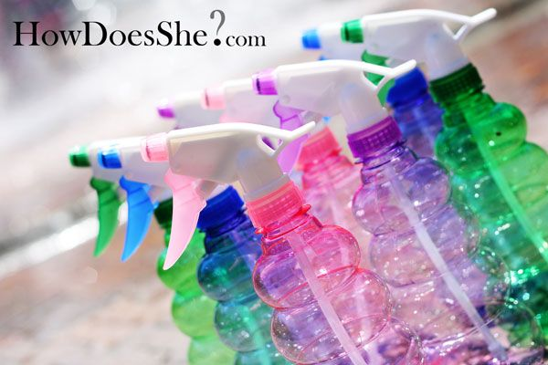 """Water guns are passe... besides, teaching you kids to shoot PEOPLE is bad, right???? but squirt bottles (and you can find them at the dollar store) hold a LOT of water & would be fun... you can claim to be """"cleaning"""" each other that way."""