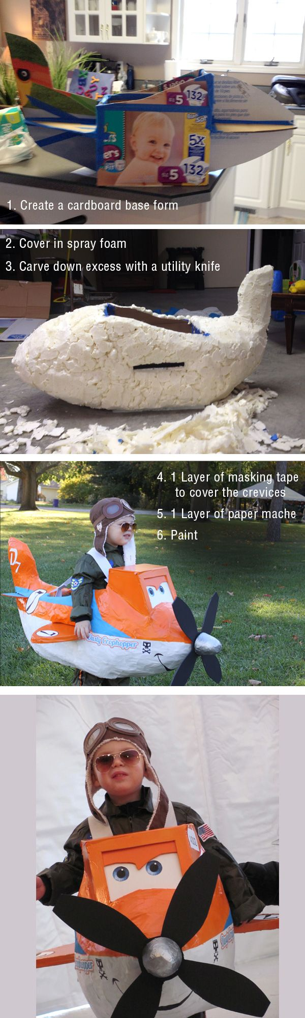 Spray foam...duh!!! Disney's Planes Dusty Crophopper Costume How-To.