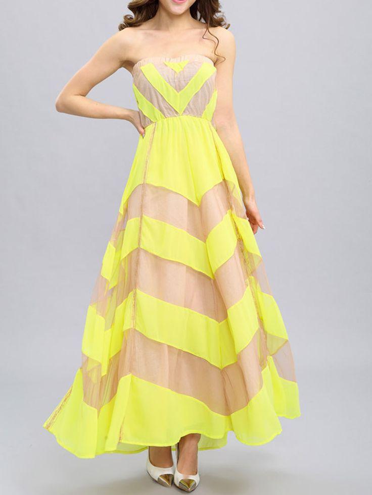 Yellow Chevron Print Layered Strapless Maxi Dress