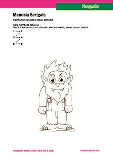 kerajinan anak, petunjuk langkah menggambar manusia serigala untuk anak SD