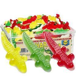 Crocodiles Haribo - un classique à partir de 250grs. Sirop de glucose, sucre, dextrose, gélatine, acidifiant : acide citrique, arôme, colorants :E104, E122, E124, E132, huile végétale, agents