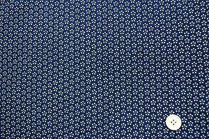梅小紋 江戸小紋柄のレーヨンちりめん生地 星梅鉢 紺色 ネイビー