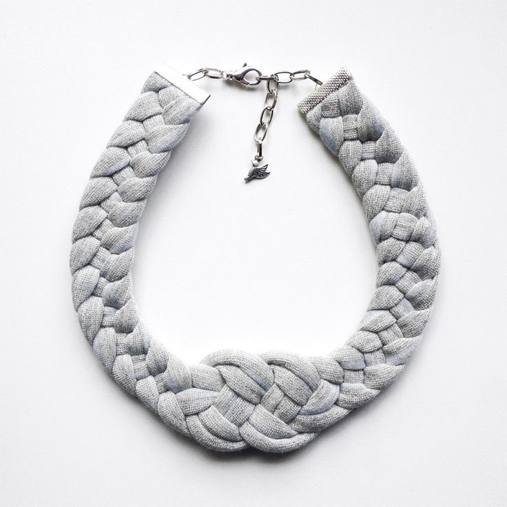 SALE - The knot necklace - handmade in grey sparkling jersey fabric by birdienumnumshop on Etsy